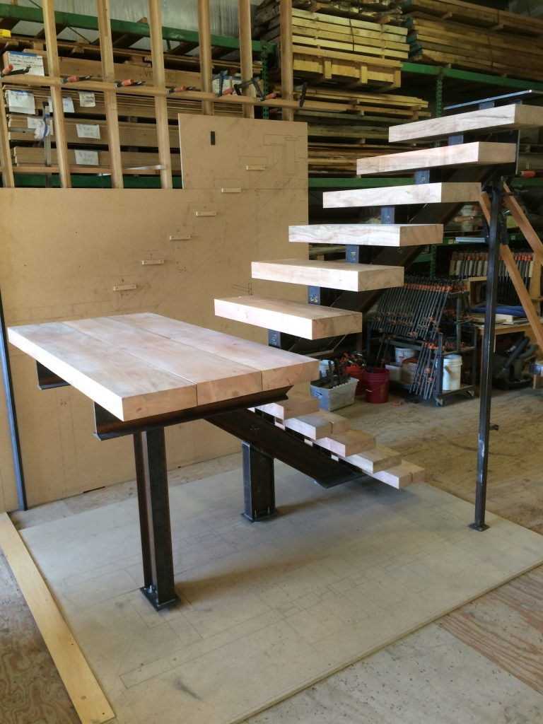 Mono-stringer stair with maple treads